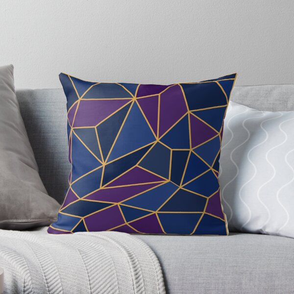 Abstract Geometric Stained Glass Style Amethyst & Sapphire Shades Throw Pillow