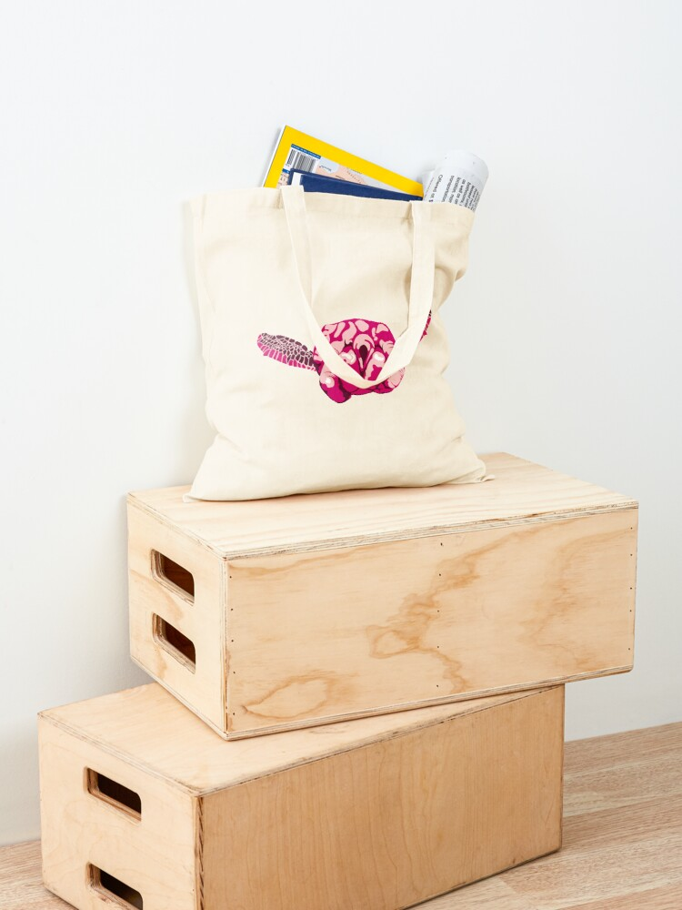 Alternate view of Turtle Hand Signal - Pink Tote Bag