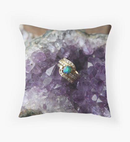 Black Opal in Amethyst Throw Pillow