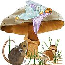 Mushroom Fairy & Mouse by redqueenself