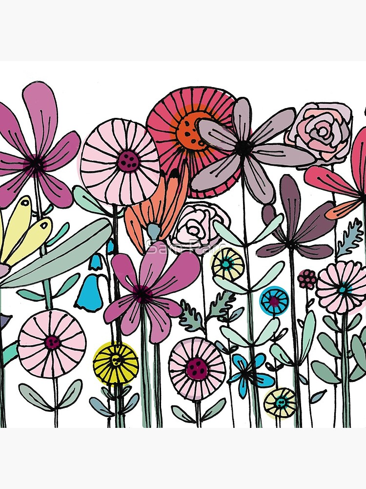 Floral Daisy Linework drawing by SamJane