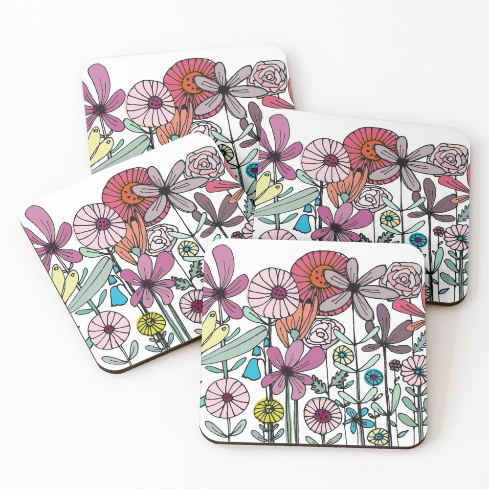 Floral Daisy Linework drawing Coasters (Set of 4)