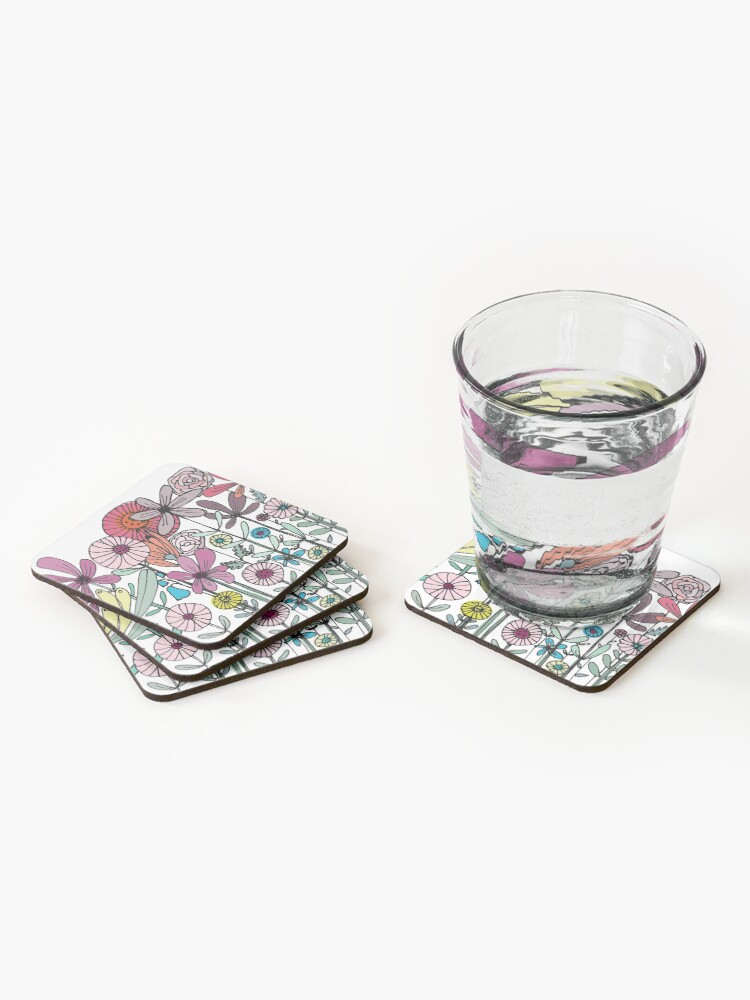 Alternate view of Floral Daisy Linework drawing Coasters (Set of 4)