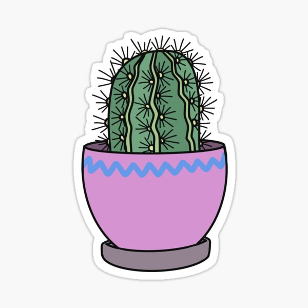 Pink Potted Cactus Sticker