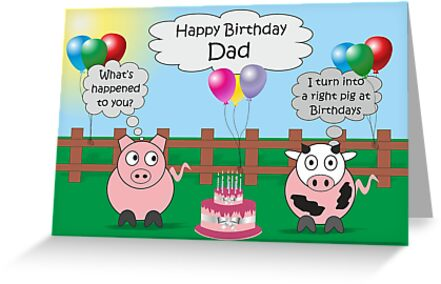 Dad Funny Animals Pig Cow Humor Cute Birthday Greeting Cards By