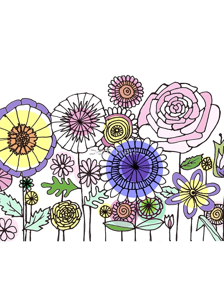 Floral Rose linework drawing by SamJane