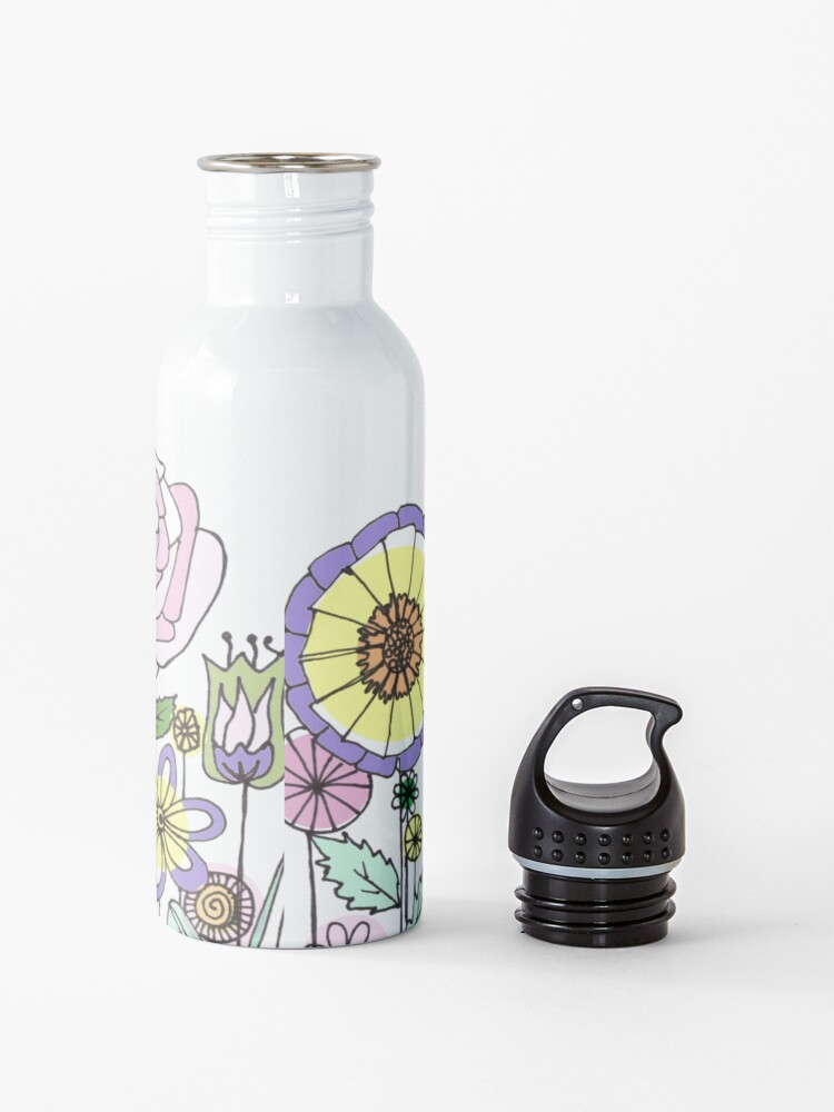 Alternate view of Floral Rose linework drawing Water Bottle