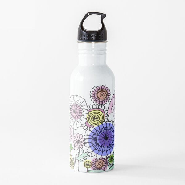 Floral Rose linework drawing Water Bottle