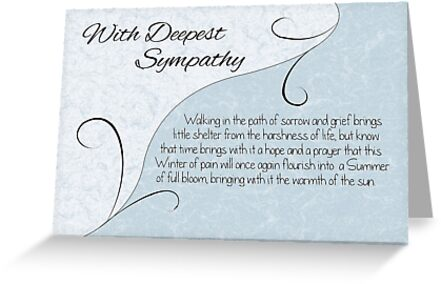 With Deepest Sympathy with Words - Pastel Blue & Vintage Scrolls by Samantha Harrison