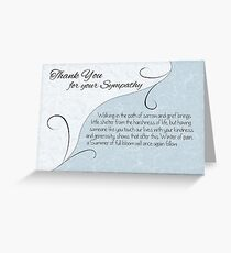 Thank You Sympathy Card - Pastel Blue with Vintage Scrolls Greeting Card
