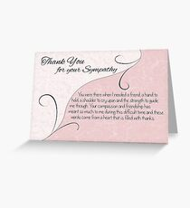 Thank You Sympathy Card - Pastel Pink with Vintage Scrolls Greeting Card