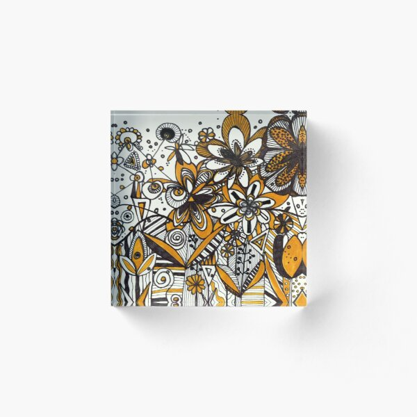 Mustard Black and White Floral pattern batik/African style Acrylic Block