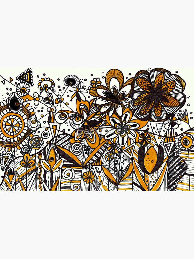 Mustard Black and White Floral pattern batik/African style by SamJane