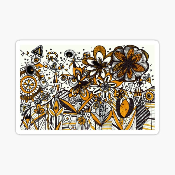 Mustard Black and White Floral pattern batik/African style Sticker
