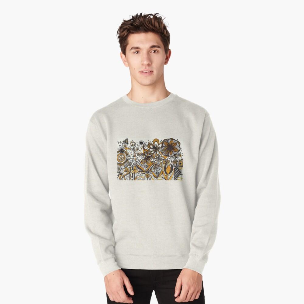 Mustard Black and White Floral pattern batik/African style Pullover Sweatshirt