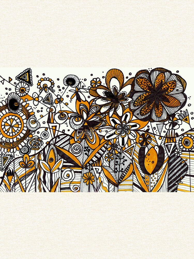 Mustard Black and White Floral pattern batik/African style by SamJane