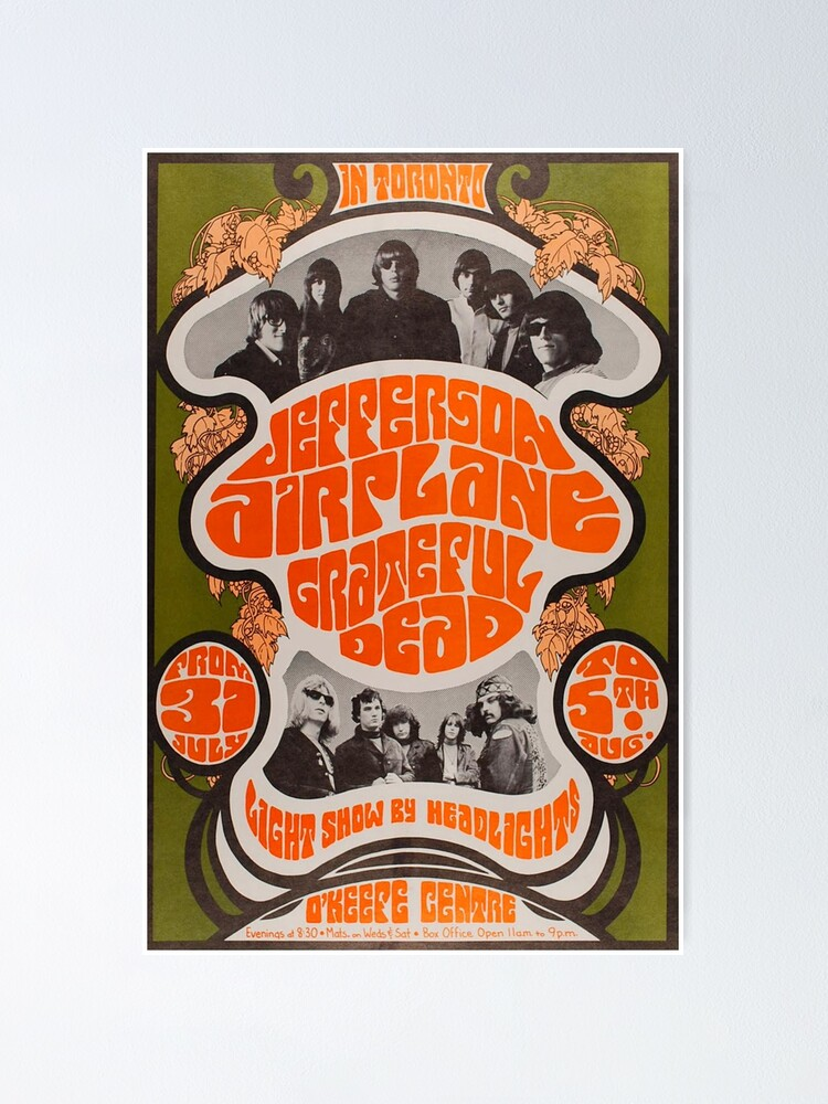 Alternate view of Jefferson Airplane and Grateful Dead gig poster Poster