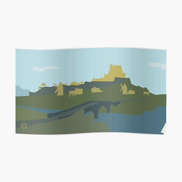 Skyrim Whiterun Landscape Vector Artwork Poster