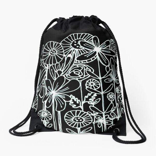 Reversed line drawing white on black flowers  Drawstring Bag