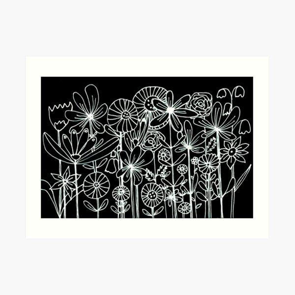 Reversed line drawing white on black flowers  Art Print