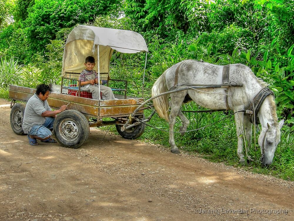 Daddy is fixing the transmission - Belize, Central America by Jeremy Lavender Photography