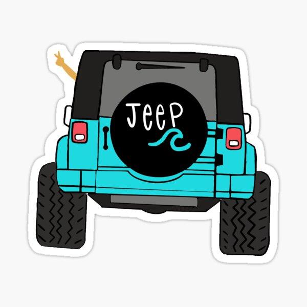 Teal Jeep Wrangler Pegatina
