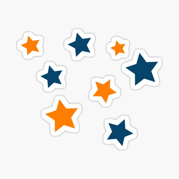stars- orange and blue Sticker