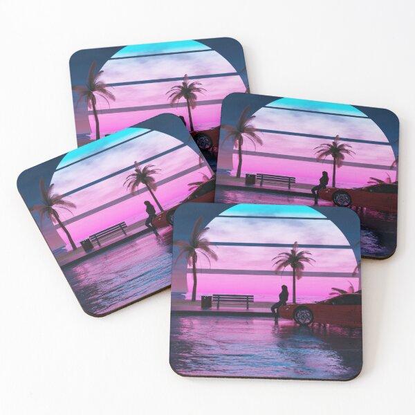 Outrun Beach Sunset Coasters (Set of 4)