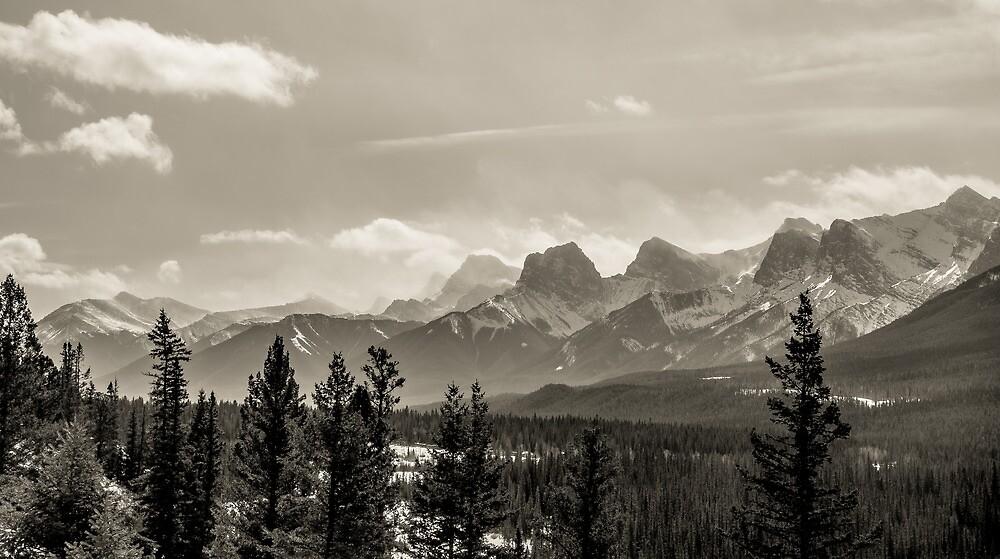 Rocky Mountains in Monochrome by alan shapiro