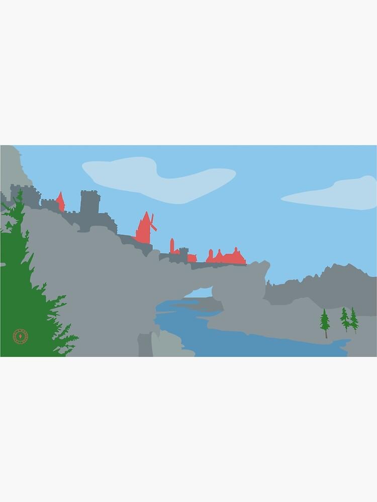 Skyrim Solitude Landscape Vector Artwork by felixt518