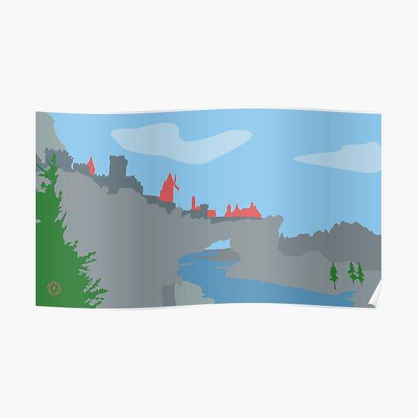 Skyrim Solitude Landscape Vector Artwork Poster