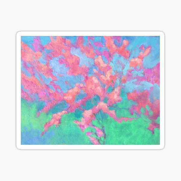 Pink Apple Tree Blossoms Painting Sticker