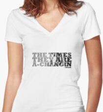 Bob Dylan The Times They Are A-Changin Women's Fitted V-Neck T-Shirt