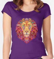 Geometrischer Löwe Tailliertes Rundhals-Shirt