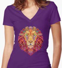 Geometric Lion Women's Fitted V-Neck T-Shirt