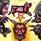 devil tattoo flash, evil witch, bat, black cat by resonanteye