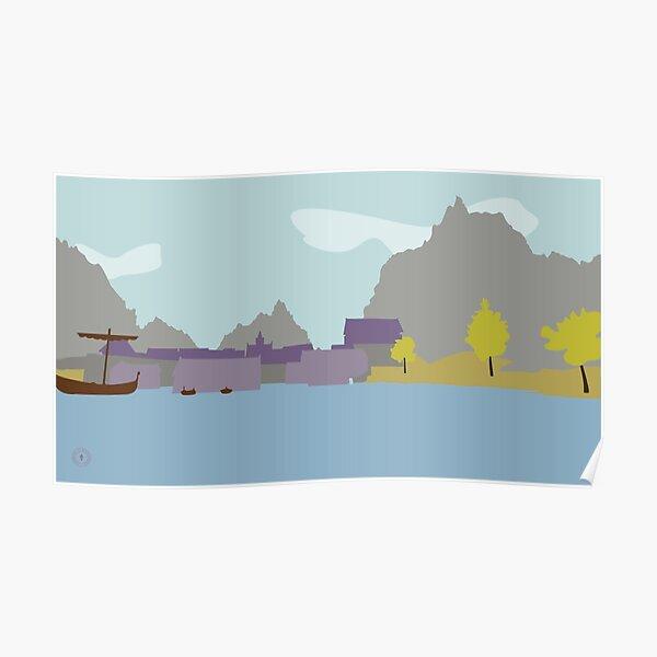 Skyrim Riften Landscape Vector Artwork Poster