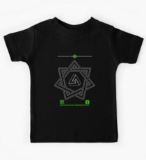 NOV 2012 MERCH 777 IMPOSSIBLE CROP CIRCLE TRIANGLE IN SEVEN POINTED STAR BLACK WITH CEWDI QRCODE Kids Tee