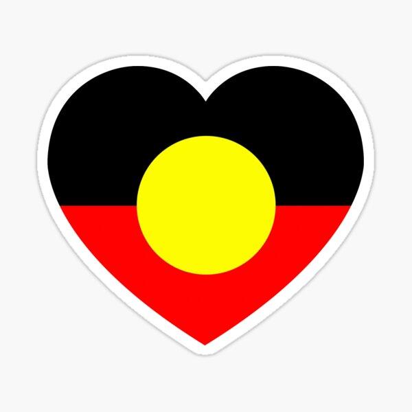 Aboriginal flag heart Sticker