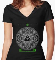NOV 2012 MERCH PHI 777 IMPOSSIBLE CROP CIRCLE TRIANGLE BLACK WITH CEWDI QRCODE Women's Fitted V-Neck T-Shirt