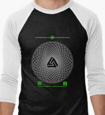 NOV 2012 MERCH PHI 777 IMPOSSIBLE CROP CIRCLE TRIANGLE BLACK WITH CEWDI QRCODE Men's Baseball ¾ T-Shirt