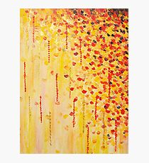 WHEN IT FALLS Bold Autumn Winter Leaves Abstract Acrylic Painting Christmas Red Orange Gold Gift Photographic Print
