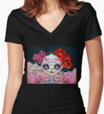 Amelia Calavera - Sugar Skull Women's Fitted V-Neck T-Shirt