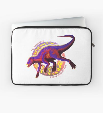 Polyamorous Prosaurolophus (with text) Laptop Sleeve