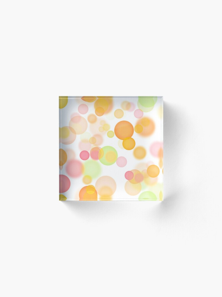 Alternate view of Bokeh bubbles, warm Acrylic Block