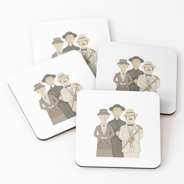 Poirot, Marple and Father Brown Coasters (Set of 4)