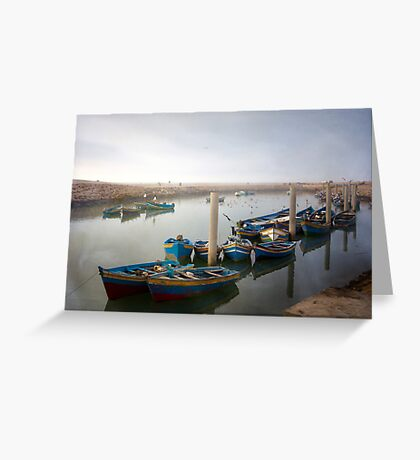 Colourful Fishing Boats in Rabat, Morocco Greeting Card