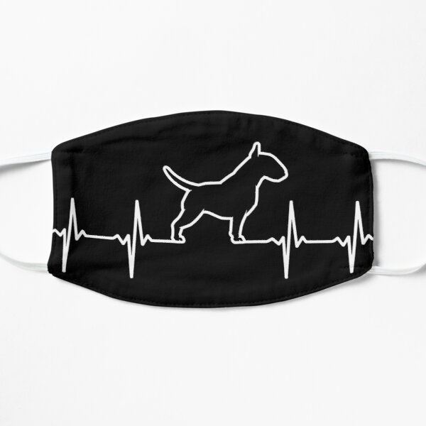 Diseño de Bull Terrier Heartbeat Cute Dog Lover Mascarilla plana
