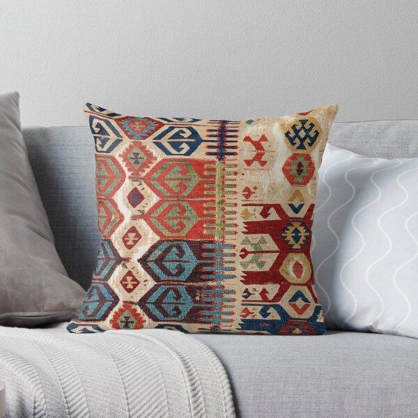 Aksaray Tribal  Antique Turkish Kilim Print Throw Pillow