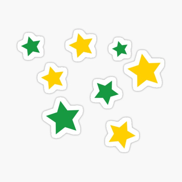 green and gold star pack Sticker